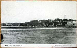 1909-Dixon-Illinois-Postcard-Rock-River-Dam-IL-Ill