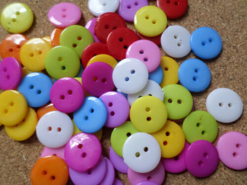 50 x 2-Hole Acrylic Buttons 12mm Mixed Colour Round