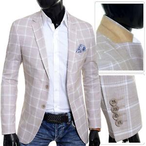 Men-039-s-Blazer-Beige-Brown-Summer-Jacket-Casual-Formal-Check-Pattern-Slim-Fit