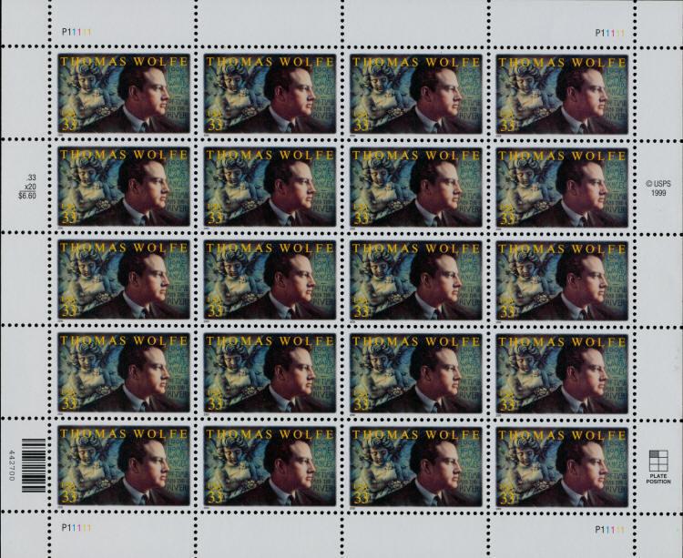 2000 33c Thomas Wolfe, American Novelist, Sheet of 20 S