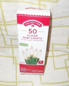 CLEAR-MINI-LIGHTS-50-CT-CRAFTS-HOLIDAYS-PARTIES-CAMP-RV-12-FT-NIB