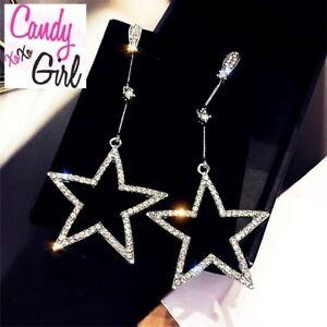 Crystal Diamante Silver Rhinestone Star Long Drop Dangle Fashion Earrings