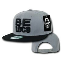 Gray & Black Mexican Mexico Be Loco Crazy Embroided Flat Snapback Snap Hat Cap