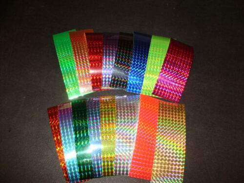 """2/"""" x 6/"""" Holo Prism Fishing Lure Tape 6 Pack-16 Colors-FREE LURE TAPES INCLUDED!"""