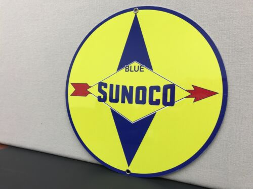 Sunoco race fuels oil gasoline round reproduction advertising sign garage