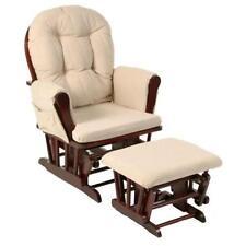 Stork Craft Hoop Glider and Ottoman Set, Cherry/Beige Rocker Rocking Chair NEW