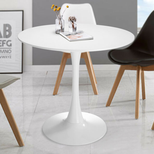 32 New Vintage Round Tulip Pedestal Coffee Table Dining Kitchen Furniture White