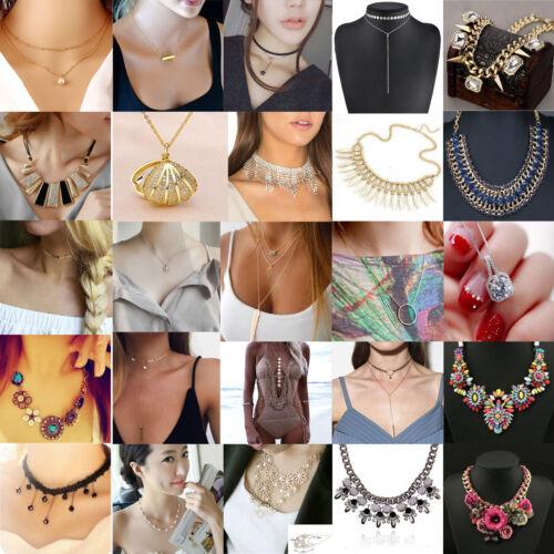 Women Choker Chunky Statement Bib Pendant Chain Necklace Fashion Charm Jewelry