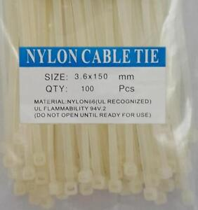 "6"" White Nylon Cable Tie Zip Heavy Duty Plastic Wire - Pack of 100pcs"