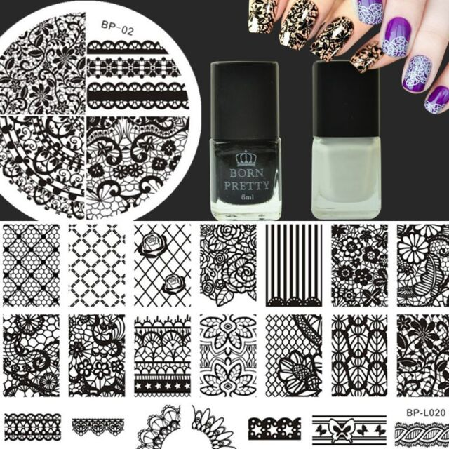 4Pcs/Set Nail Art Stamping Plates Lace Flower Image Template & Stamping Polish