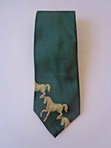 """Vintage Men's TIE Novelty Print HORSES 4.5"""" Wide N"""