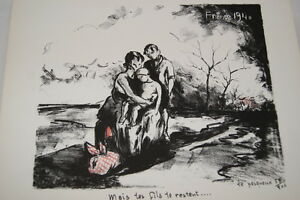 """LITHOGRAPHIE LE PESQUEUX SIGNEE LES DESEMPARES DEBACLE 1940 GUERRE 39-45 - France - Commentaires du vendeur : """"voir détail de l'annonce"""" - France"""
