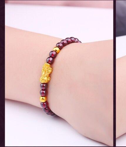 999 Pure 24K Yellow Gold Bracelet Woman 14*6mm 3D Lucky Pixiu Link 3mm Gold Bead