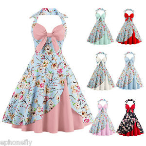 Details About 50s 60s Vintage Dresses Audrey Hepburn Charm Flowers Dress Vestidos Womens Robe