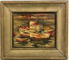 ELLWOOD GRAHAM American OIL PAINTING Harbor Scene California Artist WPA