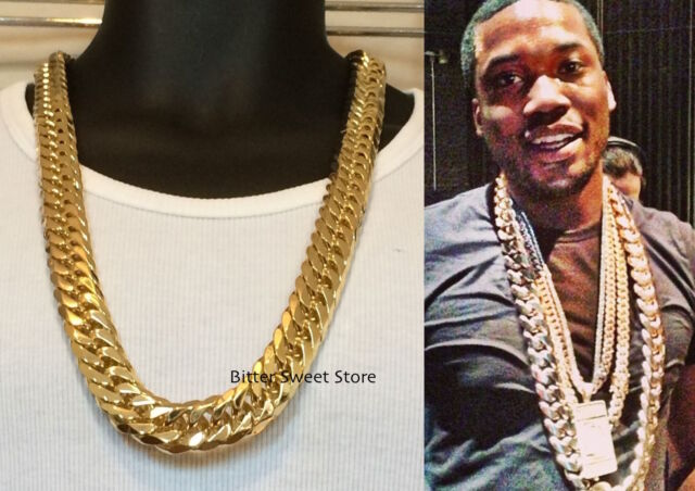 5aa4d848f6e39 Solid 14k Yellow Gold Finsh Stainless Steel 18mm Miami Cuban Link Chain  Necklace