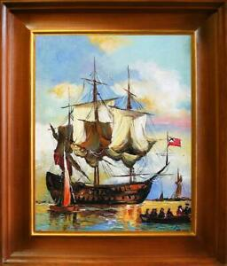 Painting-Oil-Picture-Frame-Ships-Schifftsfahrt-05733