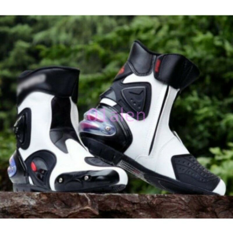 Mens Splice color PRO-BIKER Motorcycle Sports Racing Riding Boots Fashion Shoes