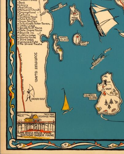 1931 circa pictorial map POSTER Maine Boothbay Harbor and vicinity 11080