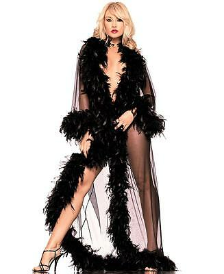 New Be Wicked BW834B Black Feather Glamour Robe