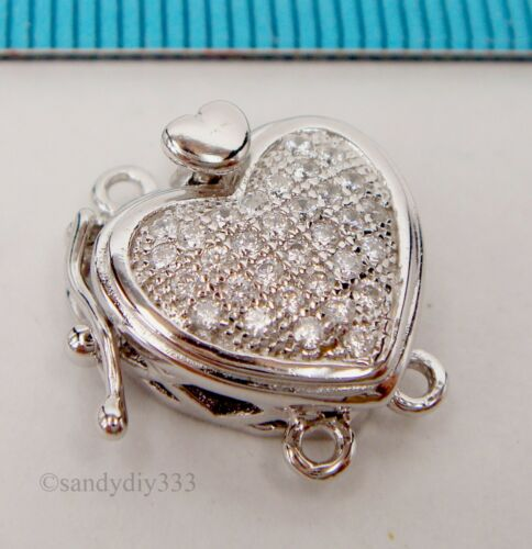 1x Rhodium plated STERLING SILVER CZ MICRO PAVE HEART 2strand BOX CLASP #2314