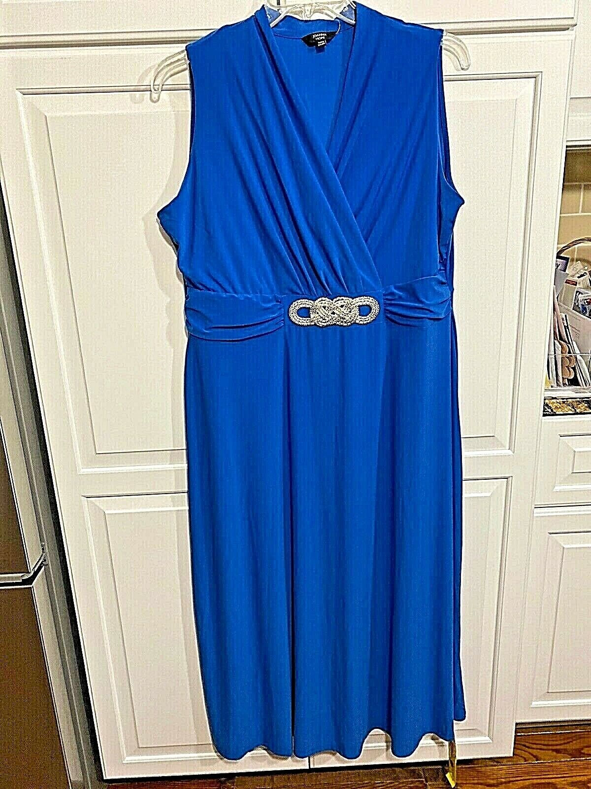Joanna Hope blue maxi length special occasion dress w bling at waist, size 18