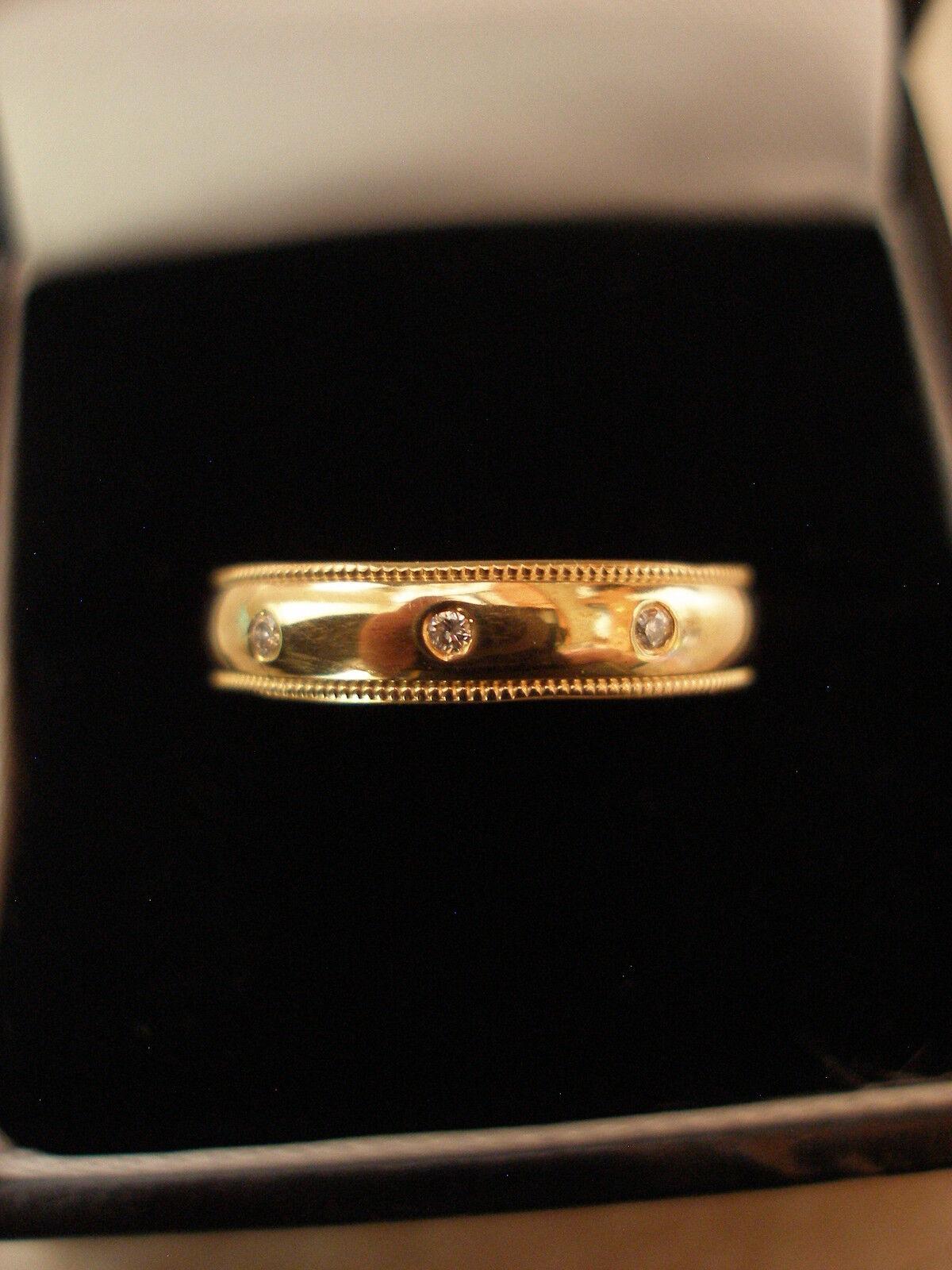 9 CARAT YELLOW gold DIAMOND SET WEDDING RING BRAND NEW IN BOX MADE IN ENGLAND