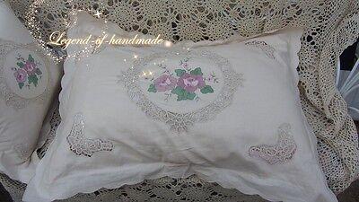 Victorian White Battenburg Lace Pillow Sham Cushion Case~Cotton~Wedding~RARE~