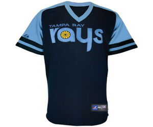 online store 924cc dae51 Details about NWT Majestic Tampa Bay Rays 1970s MLB Throwback Youth Replica  Jersey - Navy Blue