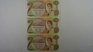 Saint-Helena-1986-Twenty-Pounds-Consecutive-Run-of-Three-Banknotes