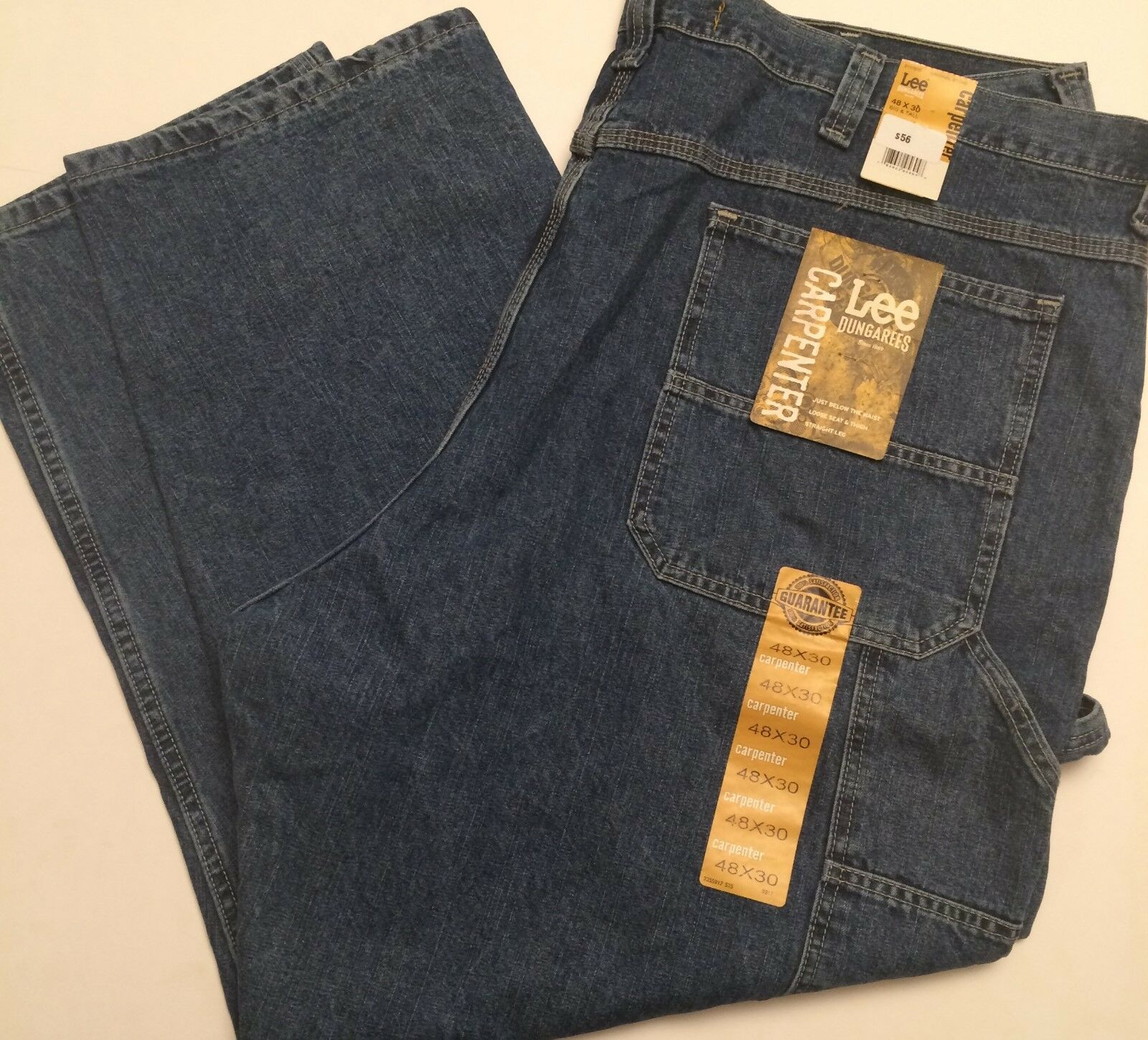 Lee Dungarees Jeans Mens Big Tall 48x30 Cotton Carpenter Loose Straight Leg NWT