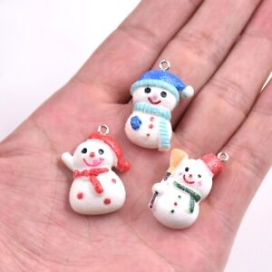 5PC-Christmas-Snowman-Resin-Charm-Pendant-For-DIY-XMS-Jewelry-amp-Craft-Making