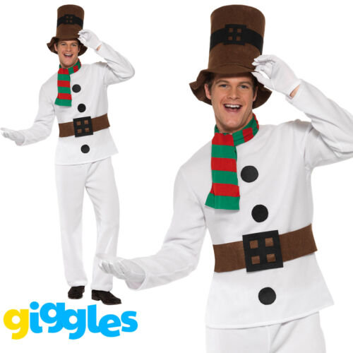 Adult Mens Snowman Suit Chirstmas Xmas Festive Fancy Dress Costume Party Outfit
