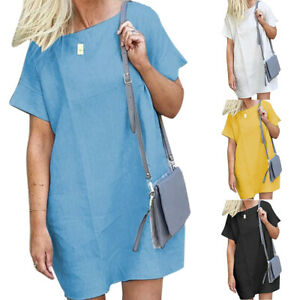 Plus-Size-Women-Solid-Short-Sleeve-Tunic-Dress-Ladies-Summer-Beach-Mini-Dress