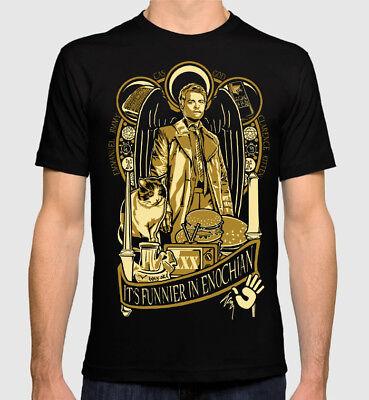 Castiel Supernatural My People Skills Are Rusty Vintage Men/'s T Shirt Black Tee