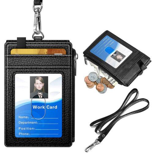 PU Leather ID Badge Card Holder Wallet RFID Blocking Zipper Pocket 5 Card Slots