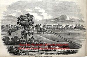 Shaker Religion, Canterbury New Hampshire, Large 1850s Antique Engraving Print