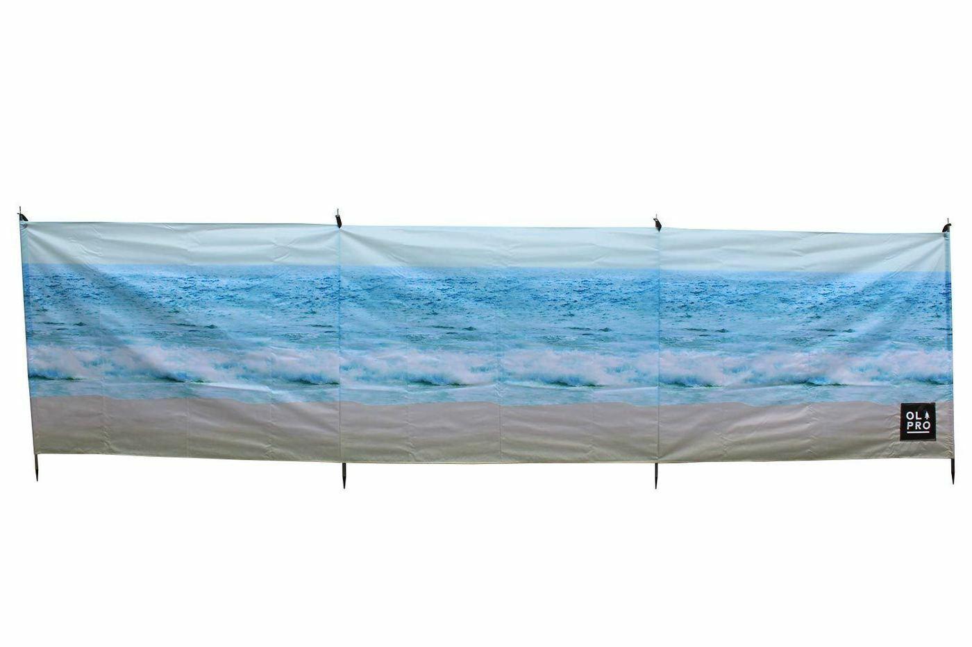 OLPRO spiaggia 4 Pole Compact Camping Windbreak con i poli in acciaio 480cm x 140cm