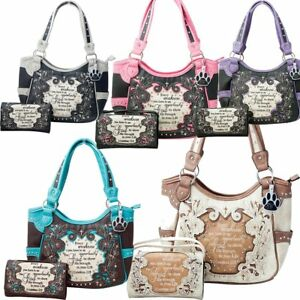 5f6bc2c164ed Details about Western Purse Concealed Carry Cross Bible Scripture Verse  Handbag and Wallet Set