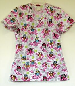 2c0b1efaa4f Dickies Floral Owl Print Pink & White S/S Cotton/Poly Scrub Top XS ...