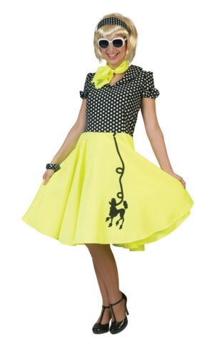 Adult Ladies Poodle Dress Yellow Or Pink Or Blue Fancy Dress Outfit