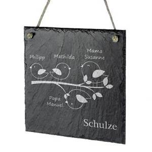 Schieferplatte-Tuerschild-Aufhaengeschild-inkl-Gravur-Motiv-Vogelfamilie
