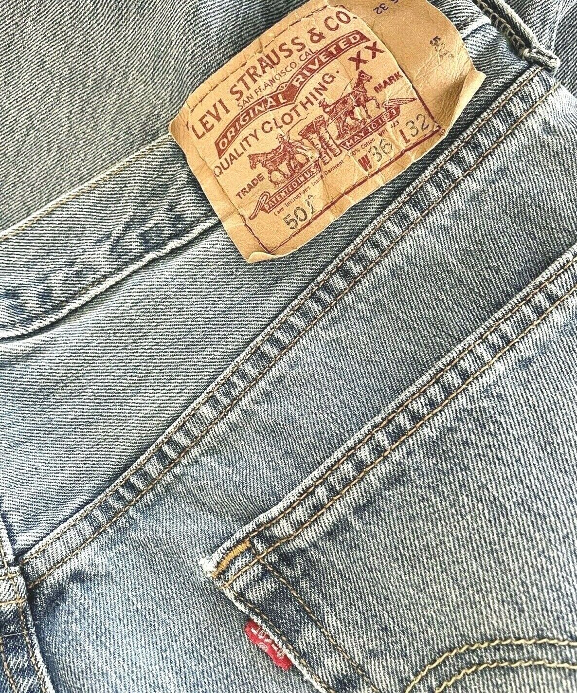 Levis 501 Jeans Mens Distressed Worn In MEASURES … - image 4