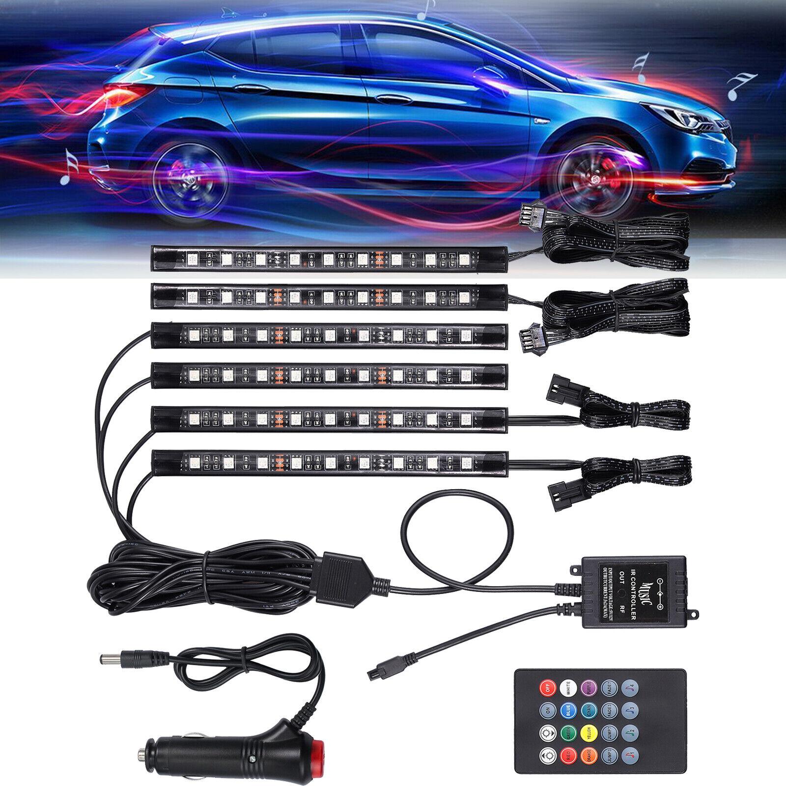 Car Interior Footwell 9LED 21cm Strip RGB Light Atmosphere Decor Lamp w// Remote