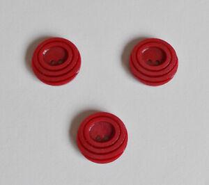 Set-3-Red-Vintage-Buttons-2-Hole-Flat-Art-Deco-Concentric-Circle-3-4-034