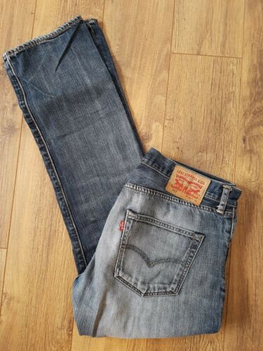 Fly W34 Faded L31 501 Blue Levis Leather Jeans Patch Button 6qxBf40n