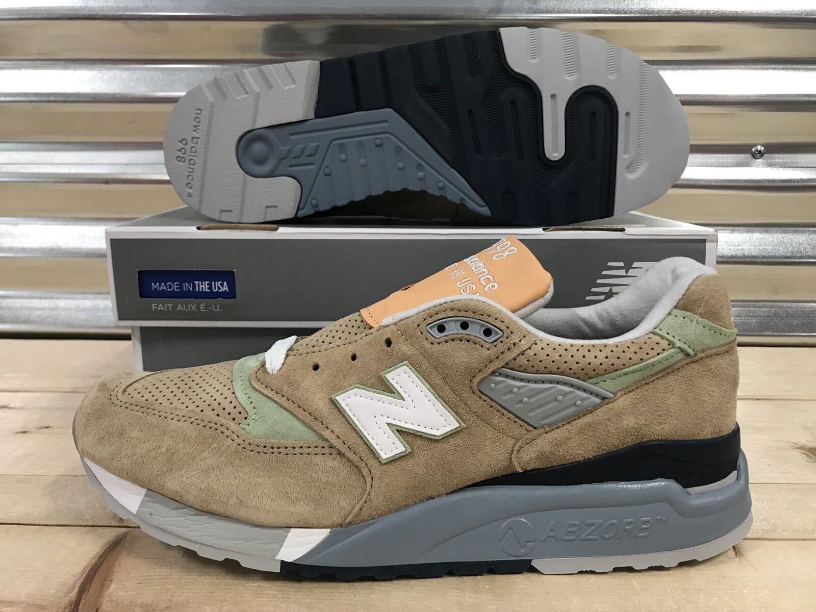 New Balance 998 Running Shoes Tan Pig Suede Green Blue White USA SZ ( M998XAA )