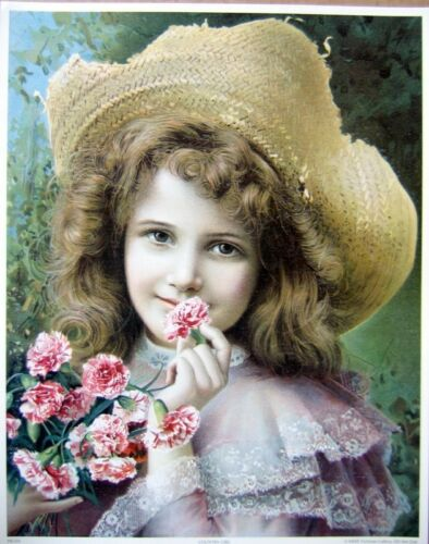 art print~COUNTRY GIRL~Victorian young girl straw hat farm flowers vtg rep 11x14