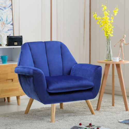 Stylish Velvet Lounge Armchairs Accent Upholstered Chair with Oak Legs Blue