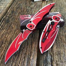 Red BAT Knife Spring Assisted Open Pocket Knife New Bat Man Razor Tactical.